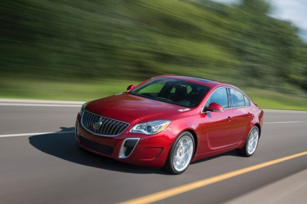 Red 2017 Buick Regal on the highway